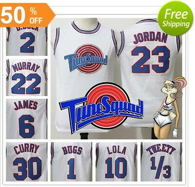 Tune Squad Jerseys All Size White And Black Basketball Space Jam Looney Tunes