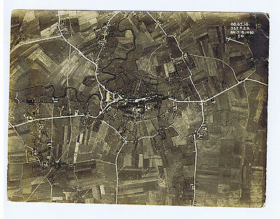 Original WW1 Military Aerial Reconnaissance Photograph of Village Dated 27.7.18