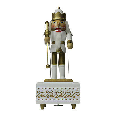 Gold And White Christmas Collectable Nutcracker Music Box Wind Up