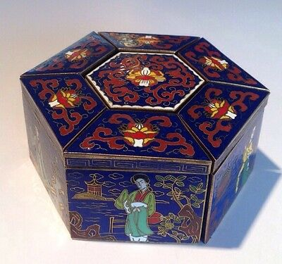 Rare Signed Vintage Chinese Peking Cloissone Lidded Jewelry Boxes Decorative