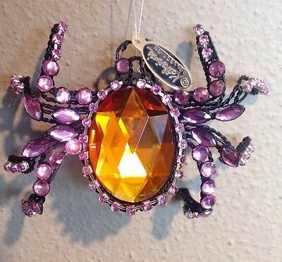 Katherine's Collection Halloween Jeweled Spider Clip On Ornament Orange