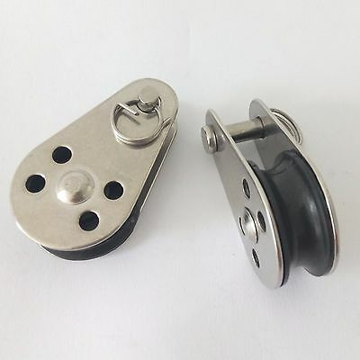 2 x 25mm Boat Pulley Block w Nylon Sheave & Removable Pin 316 Stainless Steel