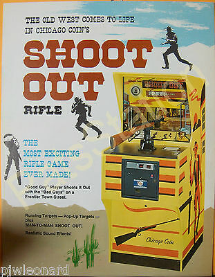 SHOOT OUT - 1976 Chicago Coin,  Rifle Arcade Game Flyer