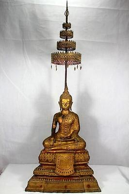 Antique Asian Gilt Bronze 18th. CThai Buddha Royal Tiered Statues Amulets Genuie