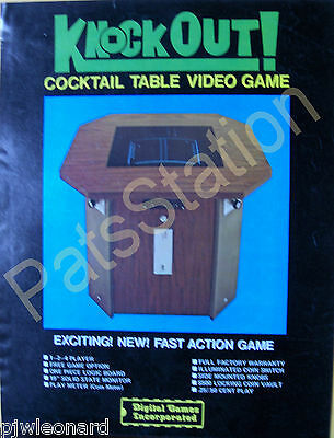 KNOCK OUT - 1975 Digital Games,  Video cocktail table Game Flyer - Original