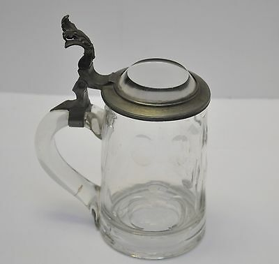 Antique German Cut Glass Beer Stein Pewter / Glass Lid 1890's