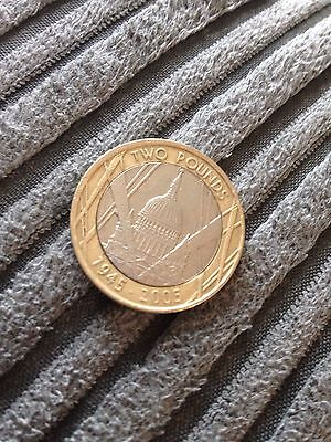 St Pauls Cathedral 1945-2005 Mint Error Rare 2 Pound Coin