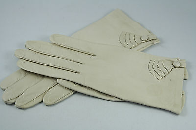 Vtg West German Kid Leather Gloves Size 7 Short Applied Leather Decoration