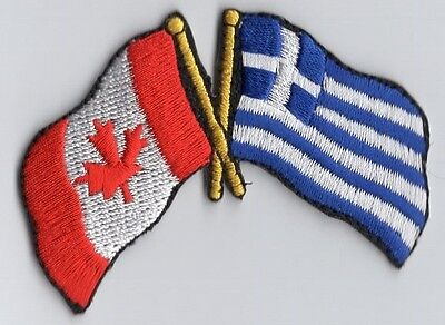 Canada / Greece Flag Patch Embroidered Iron On Applique Canadian Greek