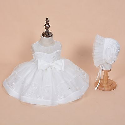 New Girls Ivory Lace Christening Party Dress with Bonnet 0 3 6 9 12 Months