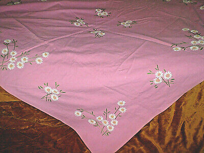 Vintage-Hand-Embroidered-Ivory-Cotton-Tablecloth-with-Multi-Color-Flowers- Pink