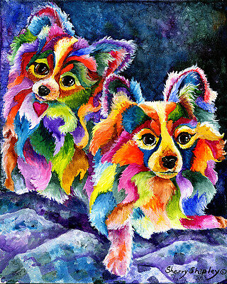 PAPILLION Original 8X10 Acrylic Framed DOG Painting by Sherry
