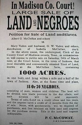 Historical  Poster LAND OF NEGROES MADISON CO COURT Teaching and collectible