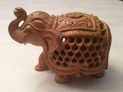 Wooden Hand Carved Elephant w/ Carved Baby Elephant Inside Lucky Figurine Decor