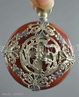 Collectible Handwork Miao Silver Carve Dragon & Phoenix Inlay Jade Lucky Pendant