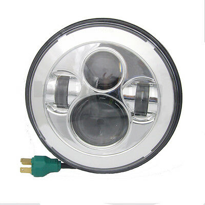 7 inch Chrome Motorcycle Projector Daymaker Headlight Hi/Lo LED Light For Harley