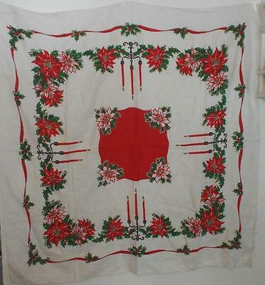 """Vintage 1950s Christmas Cotton Tablecloth 50"""" x 50"""" Poinsettias Candles Ribbons"""