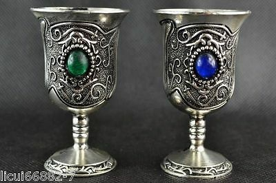 China Collectible Handwork Tibet Silver Carving Blue & Green Bead Pair Cups