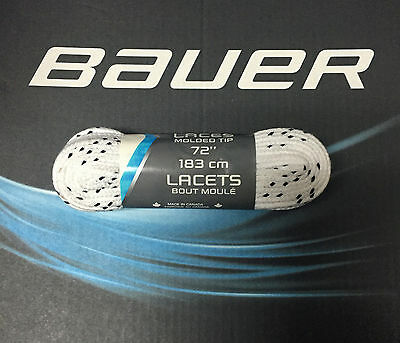 """Bauer Hockey Non-Waxed Moulded Tip Hockey Laces! White 130"""" 120"""" 96"""" 84"""" 73"""""""