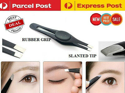 Stainless Steel EyeBrow Tweezers Hair Plucker/Puller Tool Slanted Tip Brand New