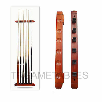 6 Clips Wooden Cue Rack Wall Mounted Pool Billiard Snooker Game Room Mahogany