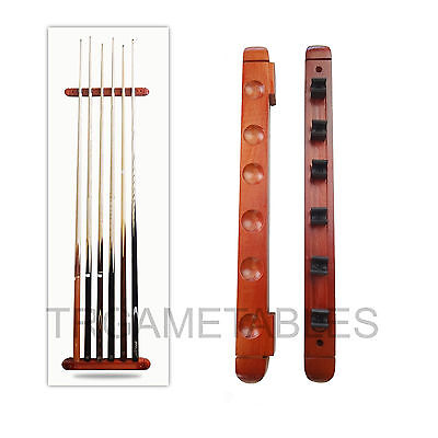 6 Clips Wooden Cue Rack Wall Mounted for Pool Billiard Snooker Game Room