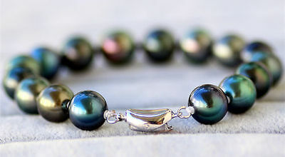 "Charming 7.5-8"" AAA 9-10mm genuine south sea black green pearl bracelet"