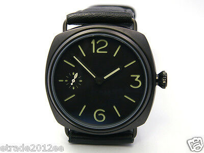 291 Parnis Militare Sterile Green Sandwich Dial Pvd Case Handwind Radiomir 45Mm