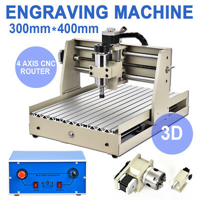 4Axis 3040 Desktop CNC Router Engraver 3D Engraving Drilling/Milling Machine USA