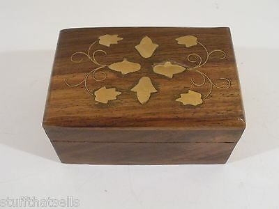 Wood Engraved Jewelry Box - Leaf Design - Petite