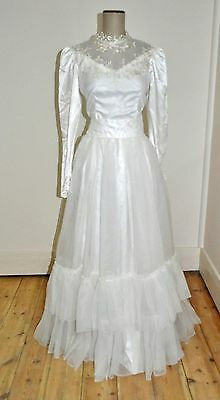 Vintage 70's Poly Organza Ruffled Skirt Wedding Dress