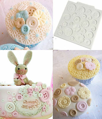 Silicone Cup Cake Buttons Embossing Mat Mold Fondant Sugarcraft Decorating Mould