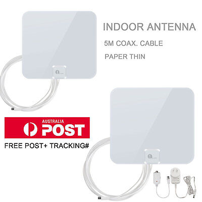 1BYONE Digital Indoor HDTV TV Antenna 1080P White Color 5M Cable UHF/VHF/F