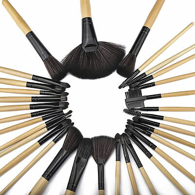 32pcs Pro Soft Cosmetic Eyebrow Shadow Makeup Brushes Set Kit Pouch Bag UP