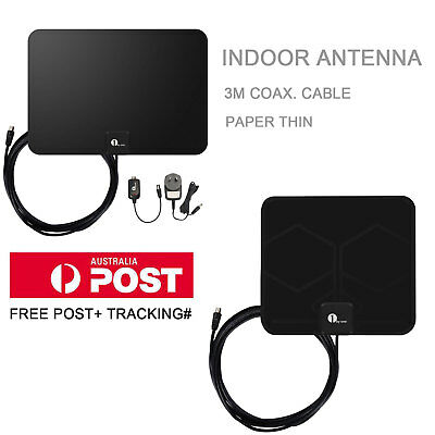1Byone Digital Indoor HDTV TV Antenna 1080P Black Color UHF/VHF/FM 3M Cable
