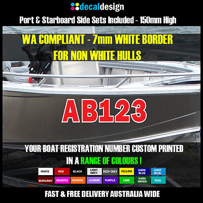 Boat Registration Number Set 150mm High Rego Stickers AVAILABLE IN ANY COLOUR