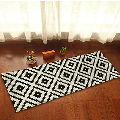 yazi Kitchen Door Mat Black White Grid Bedroom Flannel Rug Floor Carpet Runner