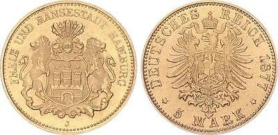 5 Mark Gold 1877 J Hamburg Hamburg vz