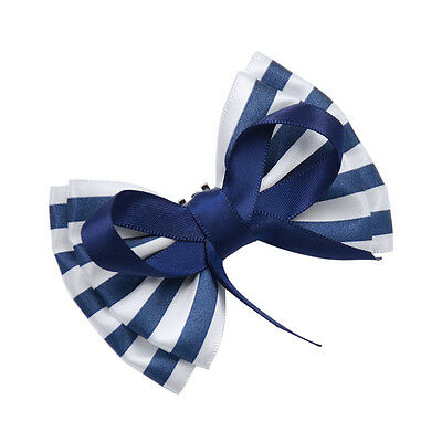 Blue White Striped Bow Ribbon Shoe Clips Clip Buckle Removable Bowknot New 1 Pc