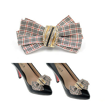 Grids Checks Bowknot Ribbon Shoe Clips Clip Buckle Removable Bow Office New 1 Pc