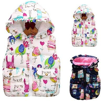 Warm Zipper Coat Kids Girls Hooded Vest Outwear Waistcoat Overcoat Jacket Winter