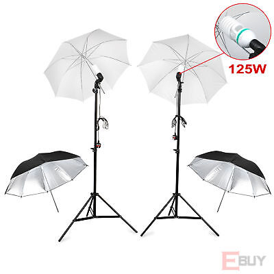 "2x 33""inch Studio Soft Reflective Umbrella Holder Support Light Stand 125w Bulbs"