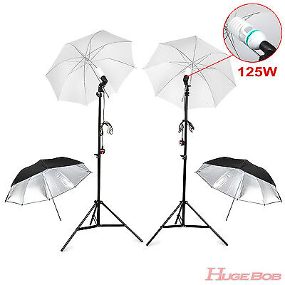 Umbrella Lighting Studio Photography Light Holder Stand Reflective Soft Bulb Kit