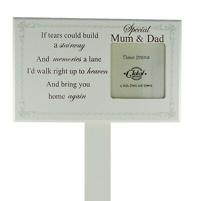 Mum & Dad Memorial Graveside Decoration Photo Frame If Tears Could Build F1599B
