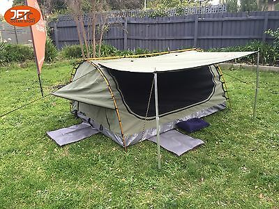 Deluxe Swag Freestanding Single Swag Camping Canvas Tent Aluminum Pole Celadon