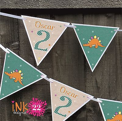 Personalised 1st, 2nd Birthday Boy Party Decoration Bunting Banner Dinosaur