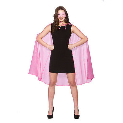 Adult Women's Baby Pink Satin Superhero Cape And Mask Fancy Dress