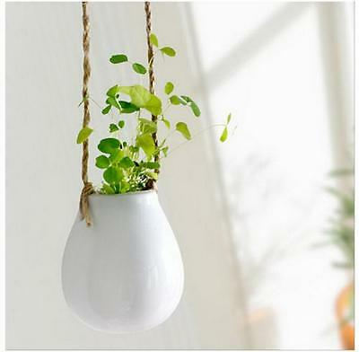 Home Garden Ceramic Hanging Planter Flower Pot Pots Green Plant Vase w Twine N