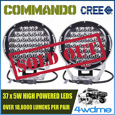 Pair 9Inch 185W CREE LED Light High Output Spot Beam Offroad BLACK 4WD COMMANDO