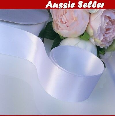 White SATIN CAR RIBBON 50mm x 6Meters WEDDING DOUBLE FACED High Quality